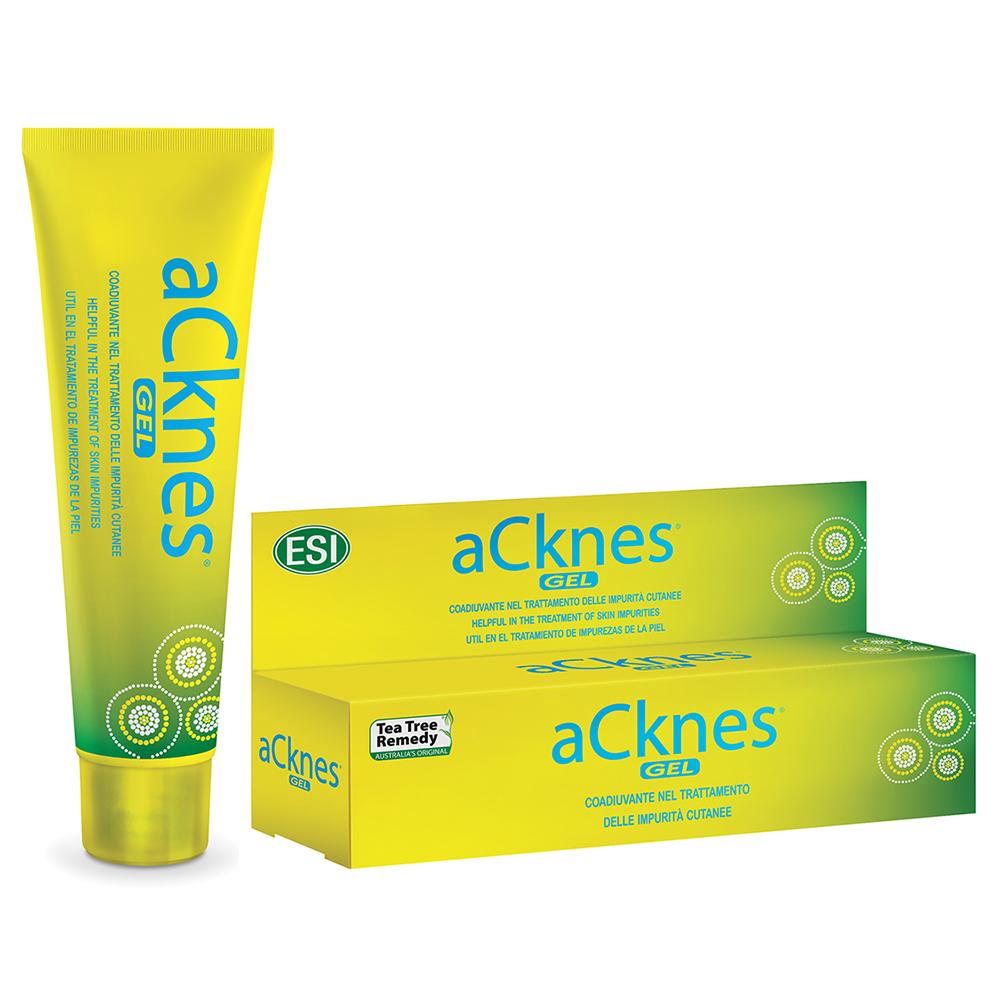 Aknes Gel: Gel viso trasparente a base di Tea Tree Oil (con titolazione superiore al 38% in terpeni totali) appositamente formulato per pelli impure e con tendenza acneica